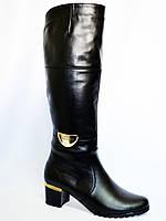 Женские зимние кожаные сапоги, декорированы брошкой, каблук устойчивый. 37 размер, фото 1