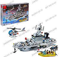 Военный корабль серии Combat Zones Конструктор Brick 821 Крейсер, 843 детали, двигающиеся элементы