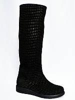 Женские демисезонные сапоги из натуральной замши (замш-плита)., фото 1