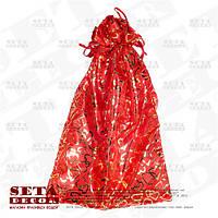 Красный подарочный мешочек с золотистыми сердцами 25х38 (33) см непрозрачный