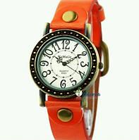 Женские классические винтажные наручные часы WoMaGe, оранжевый кожаный ремешок !!!