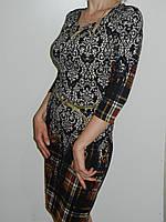Тонкое трикотажное платье с растительным орнаментом и клеткой Exclusive 50085682/3 рр. M, L