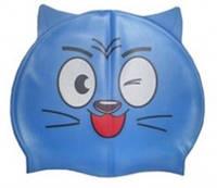 Детская силиконовая шапочка для плавания с ушками, синего цвета