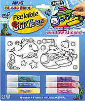 Набор для творчества Amos Peelable Sticker 6цв, 5,5мл. + 19трафаретов