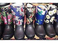 Женские резиновые сапоги-дутики Украина разные цвета внутри мех Uk0137