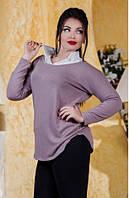 Офисная женская туника с рубашечным воротником турецкий трикотаж штапель батал Турция