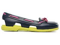 Сандалии женские Crocs (кроксы, шлепки) резиновые темно-синие