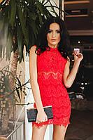 Платье женское Красное кружевное