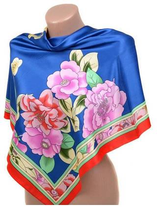 Привлекательный женский шелковый платок размером 90*90 20492-A4 (синий)