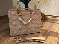 Женская стильная бежевая сумка Dior Lady