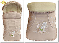 Зимний меховой конверт в коляску, санки для новорожденных Лошадка