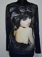 Женская блузка трикотажная с рукавом летучая мышь и принтом рр. 44-48