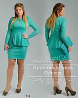 Платье женское с баской дайвинг + гипюр размеры 48,50,52,54