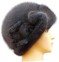 Меховая шляпа женская роза из норки цвет ирис