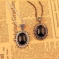 Ожерелье с овальным чёрным кулоном на длинной цепочке, цвет металла - серебро