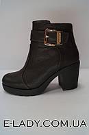 Ботиночки зимние женские коричневые из натуральной кожи на небольшом каблуке