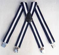 Бело-синие мужские подтяжки Paolo Udini широкие