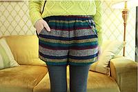 Женские тёплые шорты на резинке с карманами