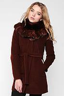 """Пальто зимнее с мехом """"Шанель"""" коричневое"""