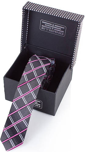 Шикарный шелковый узкий галстук  ETERNO (ЭТЕРНО) EG652 серый