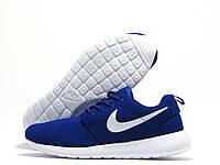 Кроссовки женские Nike Roshe Run синие с белым значком (найк роше ран)