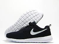 Кроссовки женские Nike Roshe Run темно-синие с белым значком (найк роше ран)
