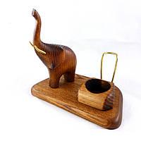 Подставка со скульптурой Слон трубящий