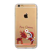 """Зимний/новогодний чехол для iPhone 6, 6s """"Санта и Олень"""""""