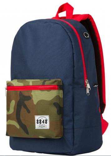 Городской рюкзак с цветным карманом 8848 17 л., синий / красный / камуфляжный, URBANSTYLE, 090