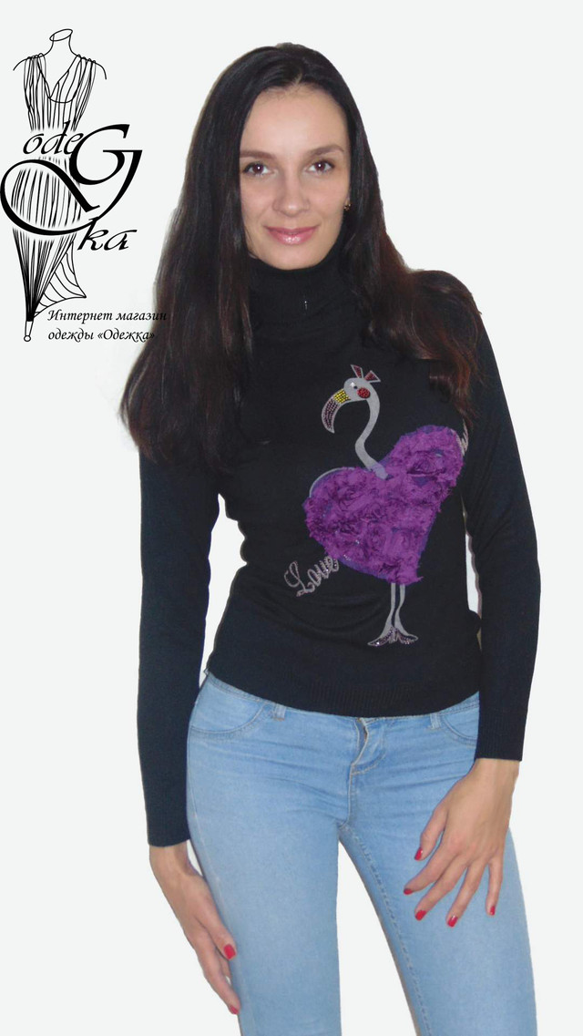 Фото Черной водолазки с рисунком аппликацией Фламинго