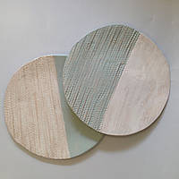 Тарелка Ohaina ручной работы косы 25см керамика цвет мята и пломбир