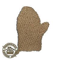 Мочалка льняная, рукавица (ручная вязка), № 33