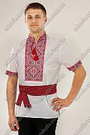 Мужская белая вышиванка Федор красно-черный орнамент КР