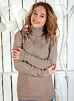 Модный вязаный свитер под горло