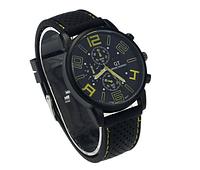 Мужские наручные часы GT Grand Touring большим циферблатом 4см (с желтыми цифрами)