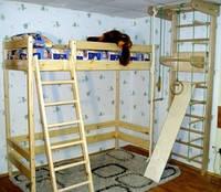Двухъярусная кровать-чердак деревянная, высота — 187см. ТМ «Ирель»