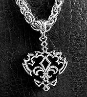 Серебряный мужской кулон Королевская лилия для медиатора, подарок музыканту гитаристу