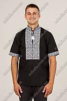 Мужская черная вышиванка Федор белым орнамент КР