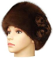 женская шапка из меха норки модель Стюардесса цветок цвет орех