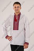 Мужская белая вышиванка Сергийко красно-черный орнамент ДР