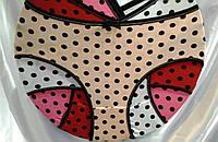 Трусы х/б гладкие цветные большие размеры с горошком