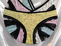 Женские трусы х/б с кружевом по ножке цветные