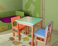 Комплект из бука для детской комнаты цветной (столик + 2 стульчика)