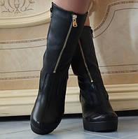 Модные кожаные женские полусапожки на тракторной подошве каблук декоративная молния кожа мех