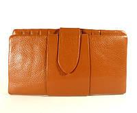 Купюрник, портмоне, кошелек кожаный женский рыжий