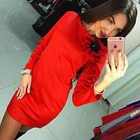 Вечернее платье с длинным рукавом красное (арт. 223480860)
