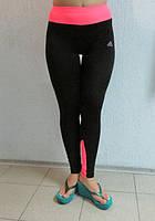 Женские спортивные лосины ADIDAS (3306) черные с розовым (коралл)  код 040 Б