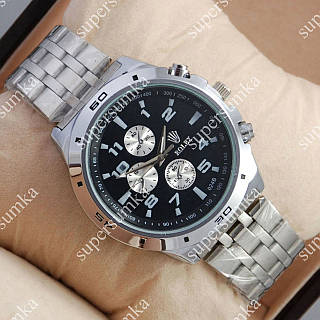 Стильные наручные часы Rolex Quartz 024 Silver/Black 20004