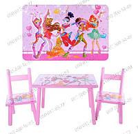 Деревянный розовый Столик 2547-34 с 2-мя стульями,изображены герои мультсериала Winx Club,Клуб Винкс, подарок