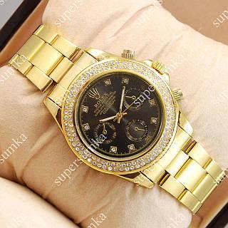 Стильные наручные часы Rolex Quartz diamond Gold/Black 20027